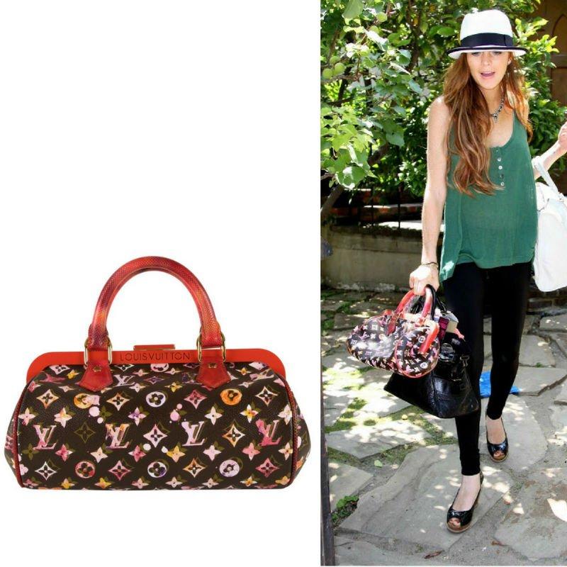 Lindsay Lohan Carrying Louis Vuitton Papillion